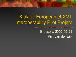 Kick-off European ebXML Interoperability Pilot Project
