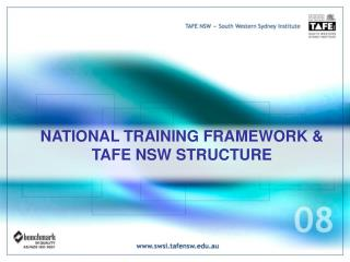 NATIONAL TRAINING FRAMEWORK & TAFE NSW STRUCTURE