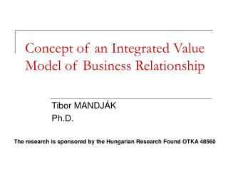 Concept of an Integrated Value Model of Business Relationship