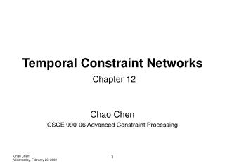 Temporal Constraint Networks Chapter 12
