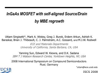 InGaAs MOSFET with self-aligned Source/Drain  by MBE regrowth