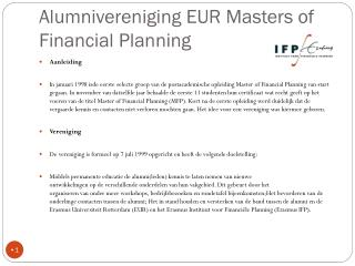 Alumnivereniging EUR Masters of  Financial Planning
