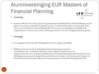Alumnivereniging EUR Masters of  Financial Planning