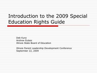Introduction to the 2009 Special Education Rights Guide