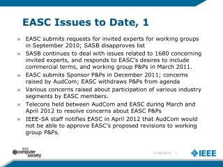 EASC Issues to Date, 1
