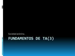 Fundamentos de TA(3)