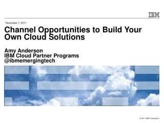Channel Opportunities to Build Your Own Cloud Solutions Amy Anderson IBM Cloud Partner Programs