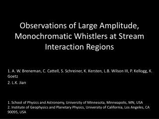 Observations of Large Amplitude, Monochromatic Whistlers at Stream Interaction Regions