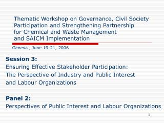 Session 3: Ensuring Effective Stakeholder Participation: