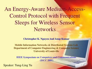 An Energy-Aware Medium-Access-Control Protocol with Frequent Sleeps for Wireless Sensor Networks