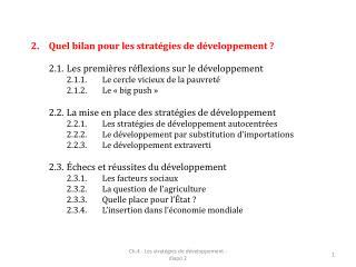 Quel bilan pour les stratégies de développement ?
