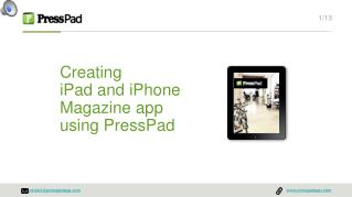 Publishing on iPad with PressPad