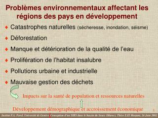 Problèmes environnementaux affectant les régions des pays en développement