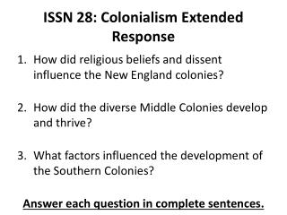 ISSN 28: Colonialism Extended Response