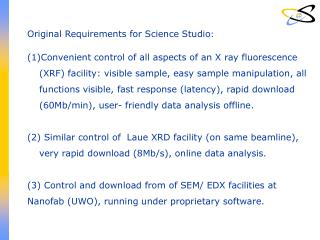 Original Requirements for Science Studio :