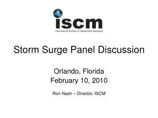 Storm Surge Panel Discussion