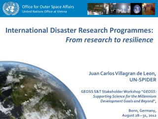 International Disaster Research Programmes:  From research to resilience