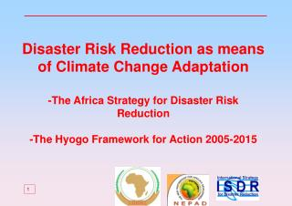 Disaster Risk Reduction as means of Climate Change Adaptation