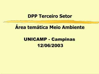 DPP Terceiro Setor Área temática Meio Ambiente