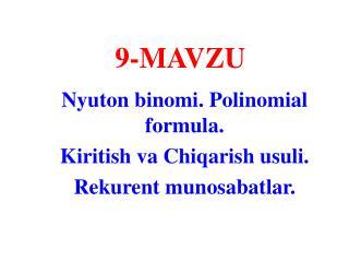 9- MAVZU