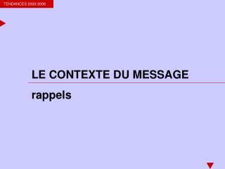 LE CONTEXTE DU MESSAGE rappels