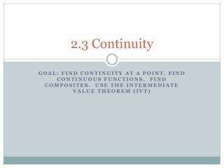 2.3 Continuity