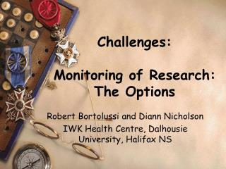 Challenges: Monitoring of Research:  The Options