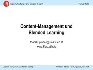 Content-Management und  Blended Learning