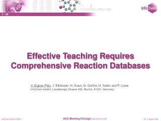 Effective Teaching Requires Comprehensive Reaction Databases