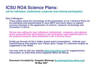 ICSU ROA Science Plans:  call for individual, institutional, corporate and national participation