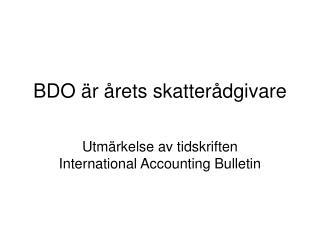 BDO vinner utmärkelse