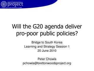 Will the G20 agenda deliver pro-poor public policies?