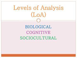 Levels of Analysis ( LoA )