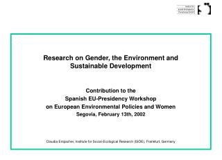 Research on Gender, the Environment and  Sustainable Development