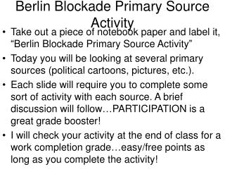 Berlin Blockade Primary Source Activity