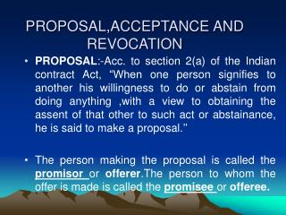PROPOSAL,ACCEPTANCE AND REVOCATION