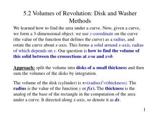5.2 Volumes of Revolution: Disk and Washer Methods
