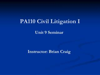 PA110 Civil Litigation I
