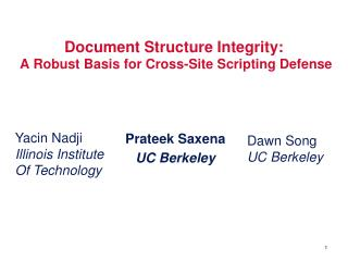 Document Structure Integrity:  A Robust Basis for Cross-Site Scripting Defense