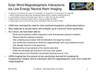 Solar Wind-Magnetosphere Interactions via Low Energy Neutral Atom Imaging