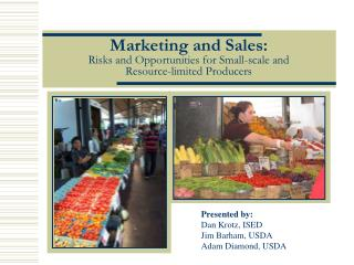 Marketing and Sales: Risks and Opportunities for Small-scale and  Resource-limited Producers