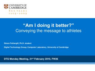 """Am I doing it better?"" Conveying the message to athletes"