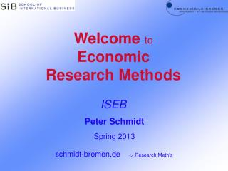 Welcome  to  Economic Research Methods ISEB