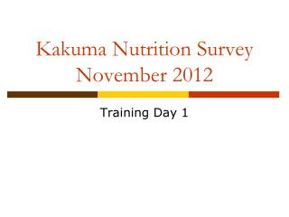 Kakuma Nutrition Survey November 2012
