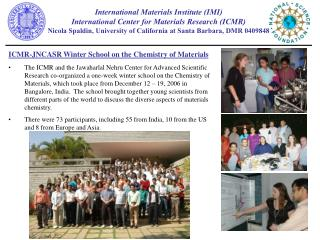 ICMR-JNCASR Winter School on the Chemistry of Materials