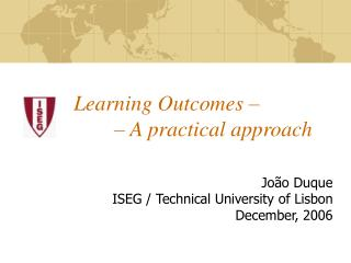 Learning Outcomes �  	 � A practical approach