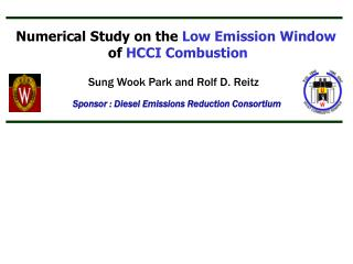 Numerical Study on the  Low Emission Window of  HCCI Combustion