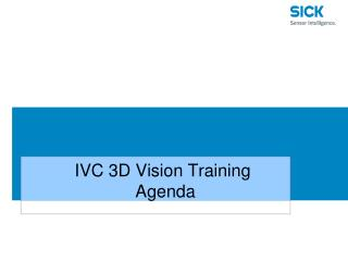 IVC 3D Vision Training  Agenda
