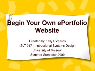 Begin Your Own ePortfolio Website