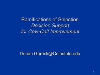 Ramifications of Selection  Decision Support  for Cow-Calf Improvement